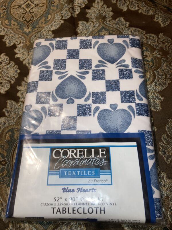 Corelle coordinates Blue Hearts Dinner lunch plate casserole  match tablecloth