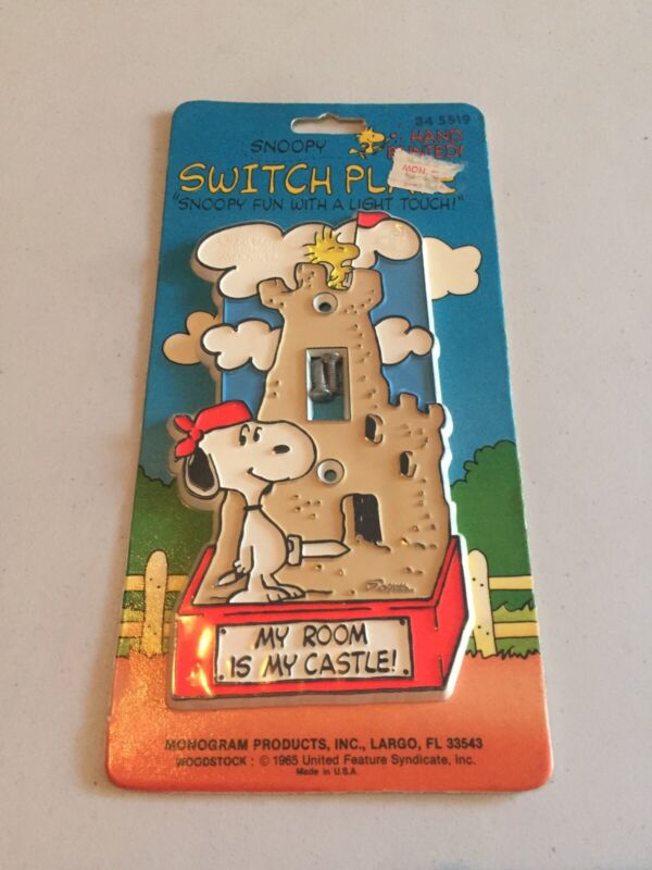 1965 Snoopy & Woodstock Light Switch Cover Peanuts Gang