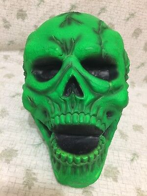 Foam & Latex SKULL HEAD Bright Neon Green Halloween Prop Life Size - Foam Skull Heads