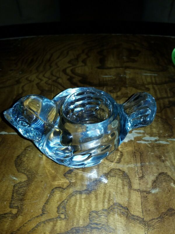 GLASS Crystal BIRD Shaped Candle Holder Heavy Weight Clear