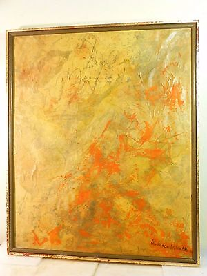 VINTAGE ABSTRACT COLLAGE PAINTING Mid Century Modern Signed 1970s