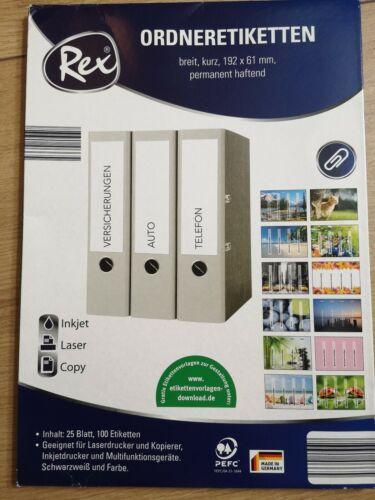 REX Ordneretiketten, Etiketten 192 x 61 mm, neu
