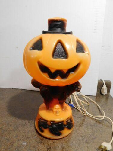 "VTG 14"" Empire Halloween Top Hat Pumpkin Black Cat Witch Broom Skull Blow Mold"