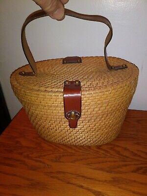 Vintage Wicker Basket with brass  clasp - Antique PurseHandbag - Brass Vintage Basket