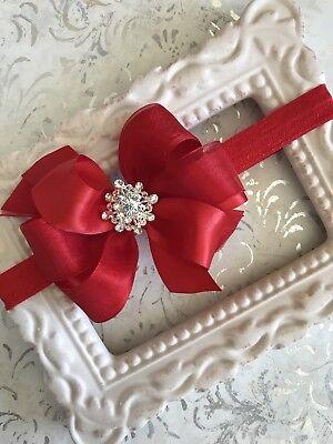 RED satin organza hair bow headband small rhinestone infant Christmas toddler  Organza Baby Headband