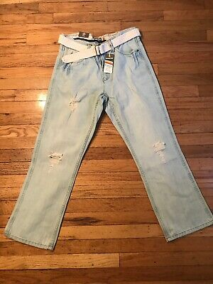 Hang Ten Jeans w/Belt Men's NWT 32x30 Distressed Relaxed Fit Boot Cut Light Wash Belted Bootcut Relaxed Jean