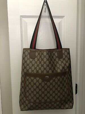 Authentic Vintage GUCCI Brown GG Canvas and Leather Tote