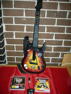 Ps3 Playstation 3 Guitar Hero Controller + Dongle + 2x Games