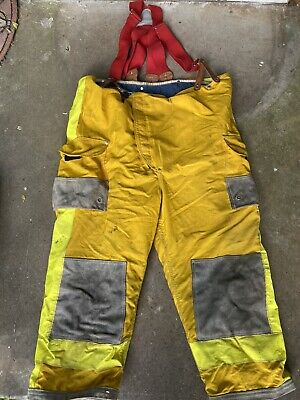 Janesville Lion Firefighter Turnout Gear Bunker Padded Pant Size 50x18 Suspender
