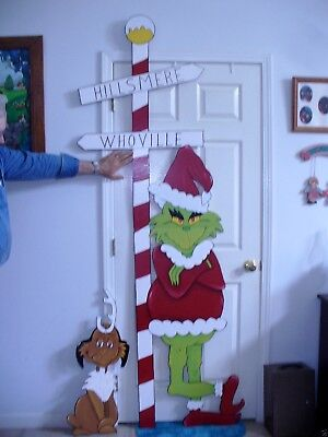 LIFE SIZE GRINCH 7-1/2 FOOT  90'' X 36'' WIDE & MAX CHRISTMAS YARD ART DECOR. - Life Size Grinch