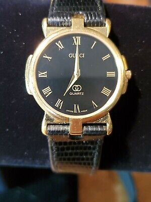 "Gucci Men's Watch Vintage 30mm Black Face - Gold Bezel 8.5"" Band 3400F M"