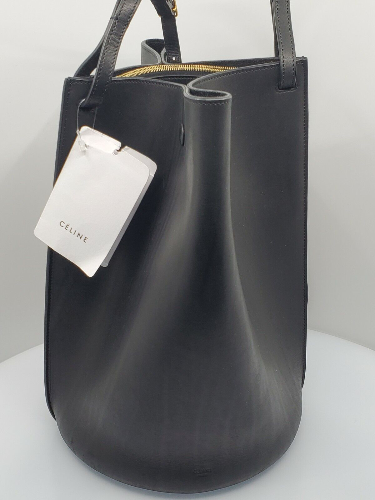 CELINE Smooth Black Leather Medium Pinched Snap Button Bucket Bag New wTags