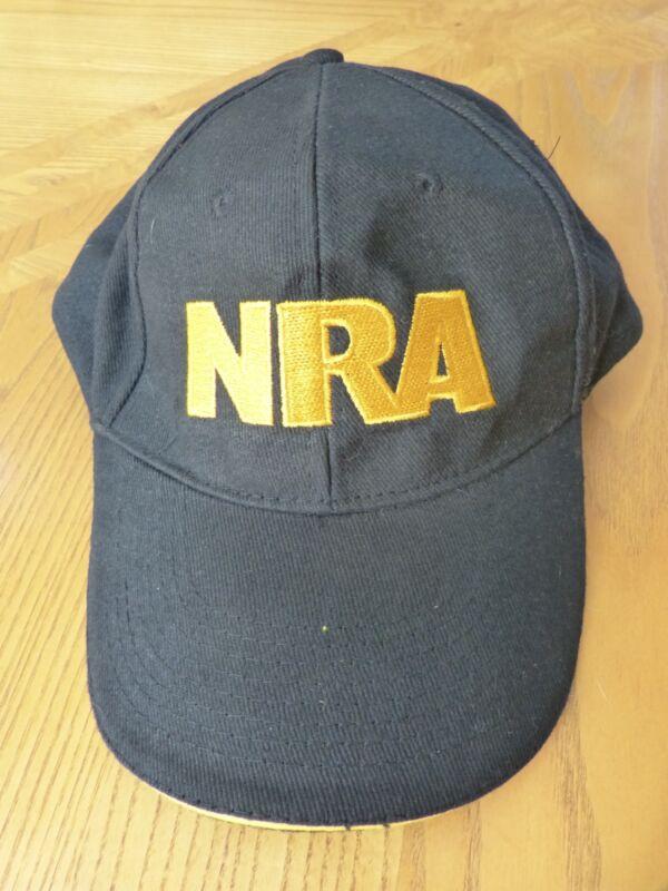 NRA National Rifle Association Black Cotton Yellow Lettering Baseball Cap Hat
