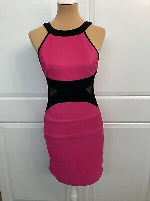 Womens Small Pink & Black Bodycon Stretch Dress W Sheer Cut Out Panels At Waist