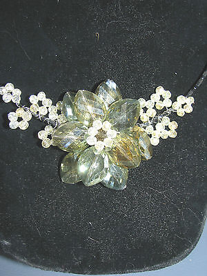 Choker Green Crystal Flower  Clear Bead  Black Memory Wire Fits All  Artist Made