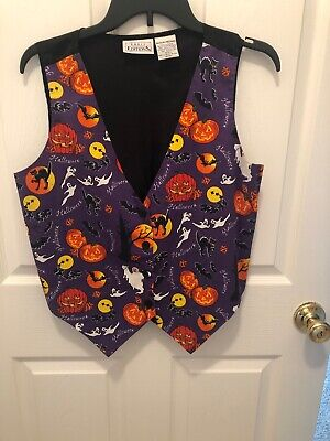 Vintage Basic Edition K-Mart Halloween Vest Witches Pumpkins Ghost M @2 - K Mart Halloween