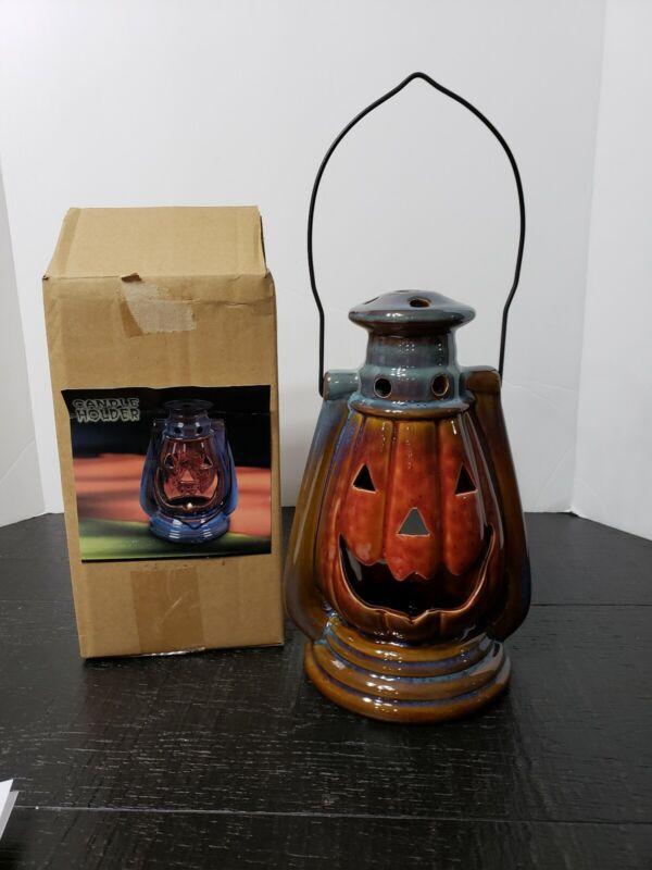 Ceramic Halloween Jack-O-Lantern Pumpkin Hanging Candle Holder Lantern
