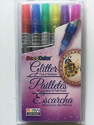 Deco Color™ Glitter Paint Marker Set - 6pc 160-6A NEW ()