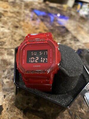 Casio G-Shock DW5600SB-4 Mens Digital Red Skeleton Series Watch NEW NWT