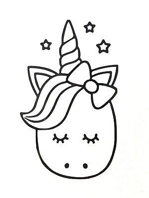 Cute Cartoon Unicorn Vinyl Decal Sticker - Various Colours & Sizes Available