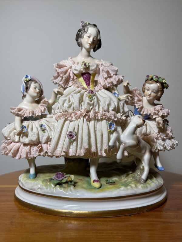 Volkstedt Large Mother with Two Girls & Frolicking Lamb Dresden Lace Figurine