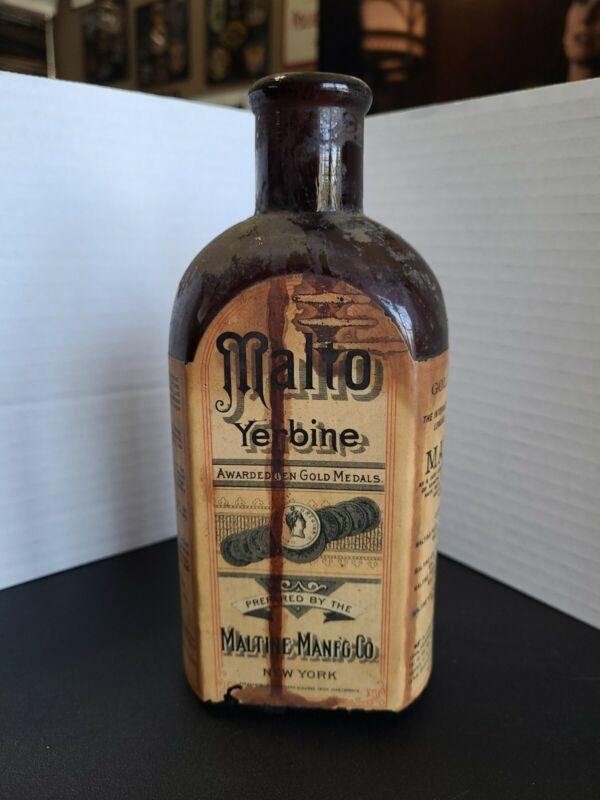 Vintage 1890 Malto Yerbone Maltone Amber Btl. Quack Medicine