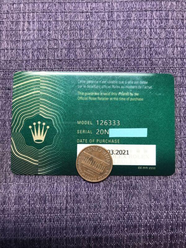 Authentic Rolex 126333 / 2021 Year. Certificate. Guarantee Card ❗️