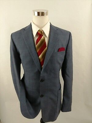Joe By Joseph Abboud Blue Glen Plaid 2 Btn Wool Blazer Jacket Sportcoat Sz 42 R