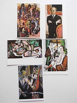 Max Beckmann, 5 x Postkarten.Der Leiermann,Bildnis Reber.Damen am Fenster.