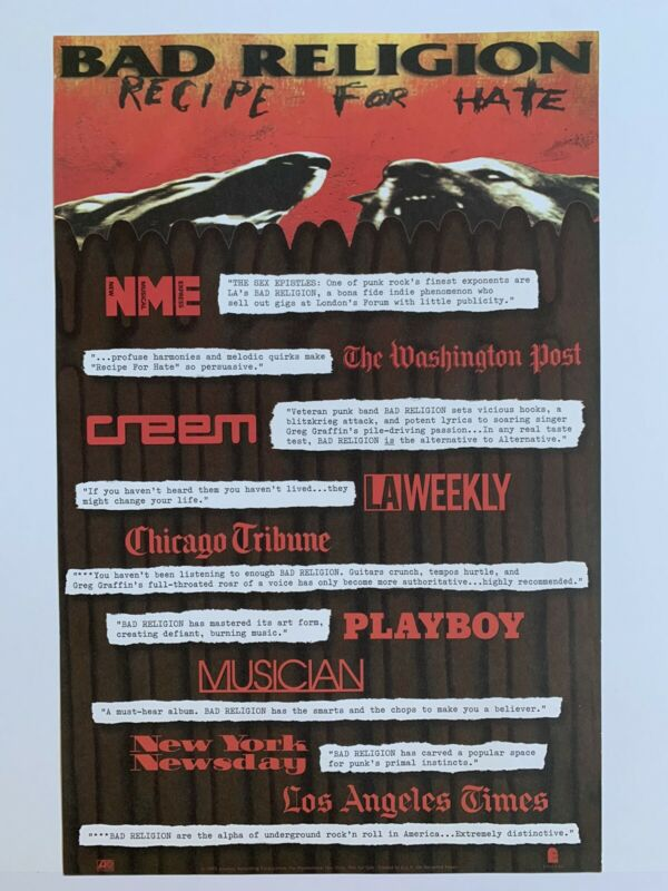 Original 1993 Bad Religion Recipe For Hate Promotional Punk Rock Poster 11 x 17""