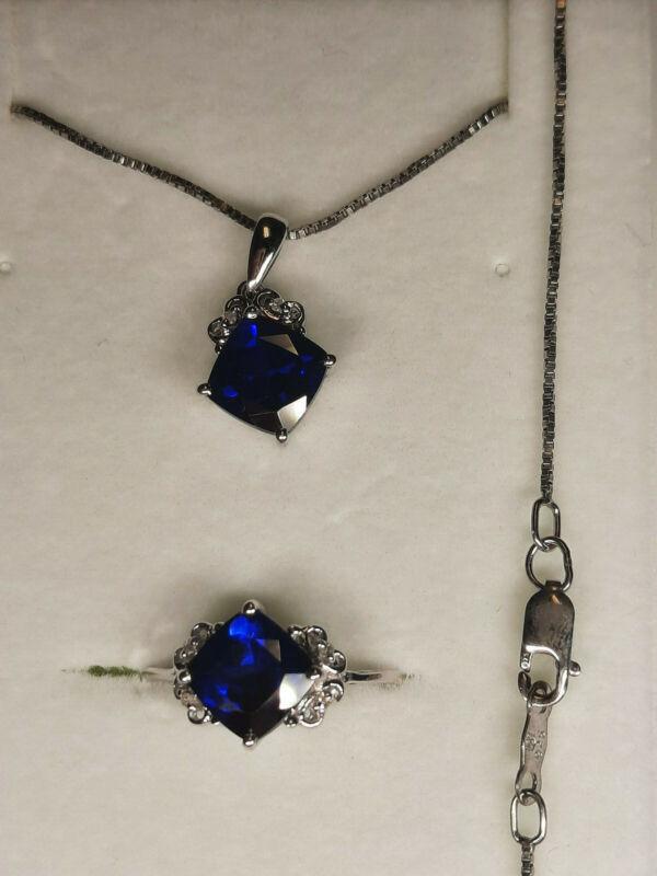 "Lab Created Blue Sapphire & Diamond Ring Sz 7 & 18"" Chain & Pendant Set"