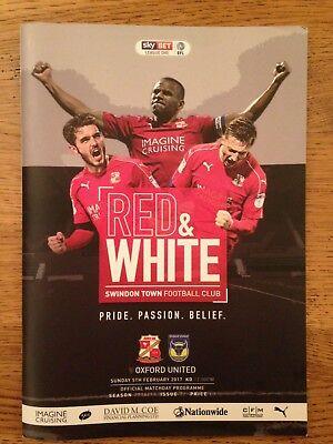 SwindonTown v Oxford United - League 1 - 5th February 2017 - Football Programme