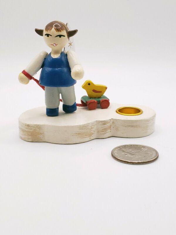 Erzgebirge Germany Handmade MINI WOODEN ANGEL DOLL w/ DUCK - Tiny Taper Holder
