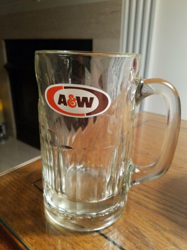 A & W  LARGE Split Iconic Oval Logo 12 OZ.  DRINKING GLASS STEIN/MUG