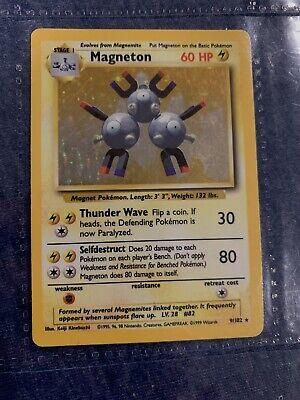 NM 1st Edition Base Set Pokemon Card Magneton Holo Rare 9/102 PSA First Ed