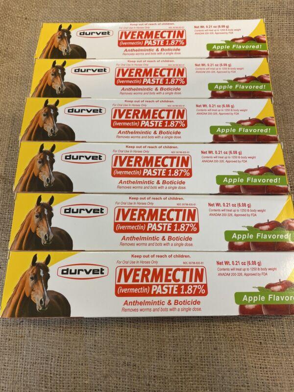 Durvet Duramectin Ivermectn Paste 1.87% Equine Dewormer Lot Of 6- Free Shipping
