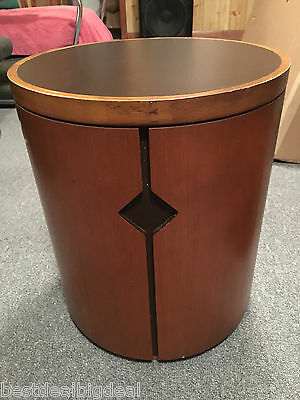 Vtg Mid Century Modern Figured Harvey Probber Era Round Drum Table 1960 Barrel