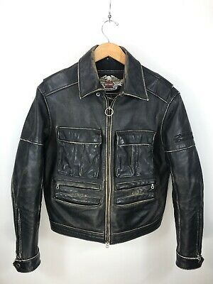 Harley Davidson Distressed Black Leather Motorcycle Biker Jacket Men's Medium