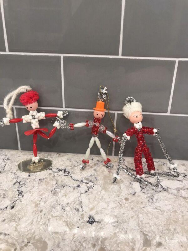 3 Vintage Plastic Bead Christmas Ornaments Ice Skater Girl Boy Skier