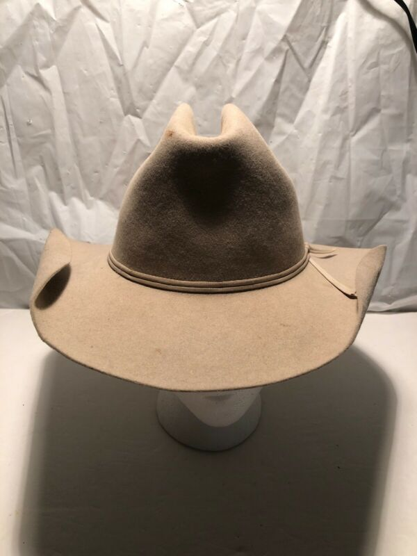 Vintage Felt COWBOY HAT 6 3/4 - Huskey Hat - Stain Heavy Crease Heavy Wear As Is