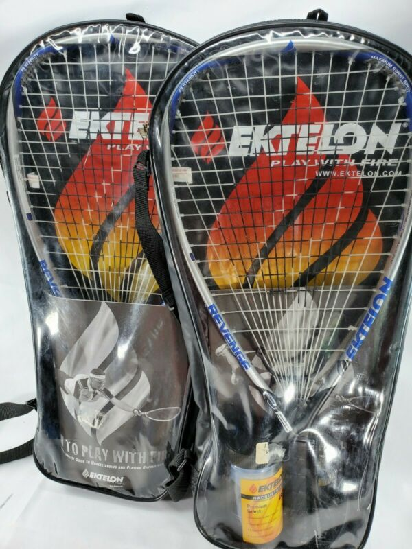 2 Ektelon Play With Fire Fusion Longbody Raquetball Raquet w/ Case, Glases, Ball