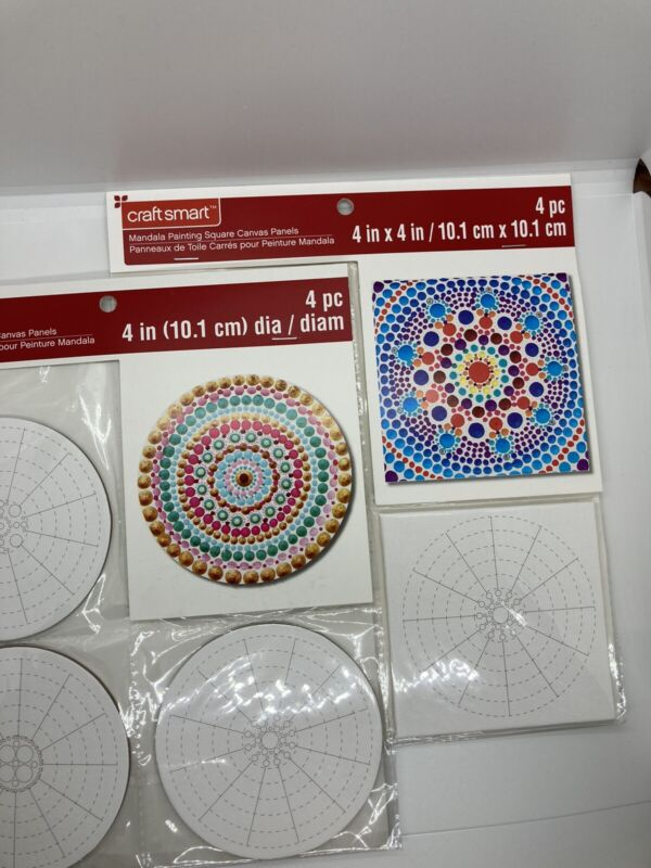 Craft Smart mandala painting square canvas panels 4x4 Two Pkg Of 4 Pieces New