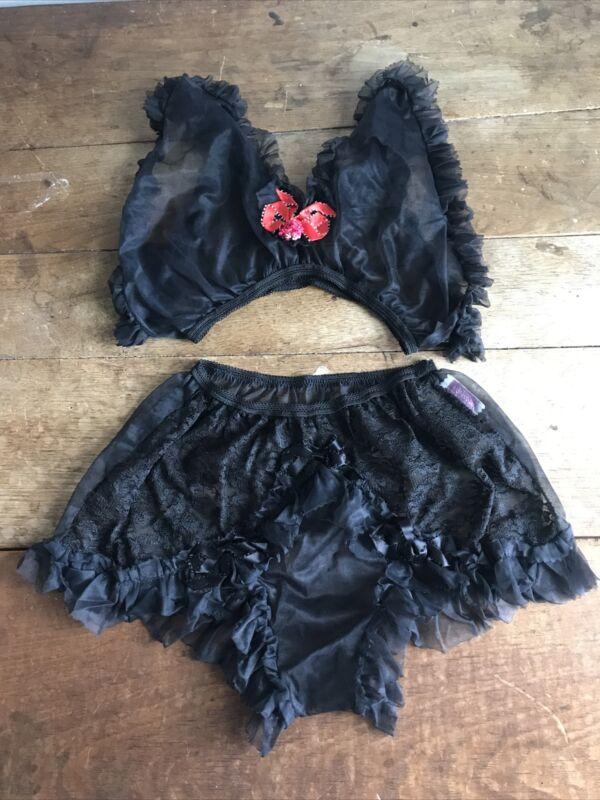 Vintage 1960s Two Piece Sheer Black Nylon Top & Panties