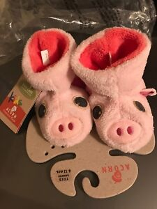 NEW ACORN pig slippers - size 6-12 months and size 12-18