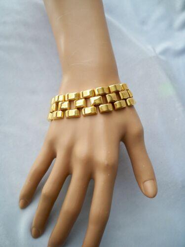 Gold Tone Wide Mesh Link Chain Bracelet