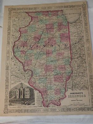 1863 Johnson'S ILLINOIS Hand Colored by Johnson and Ward 14