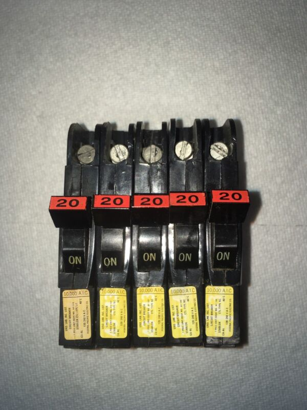 Lot of 5 - Federal Pacific FPE Stab Lok Thin 1 Pole 20 Amp 120V Breakers