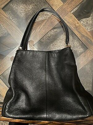 Coach Black Leather Madison Phoebe Slouch Hobo Shoulder Bag