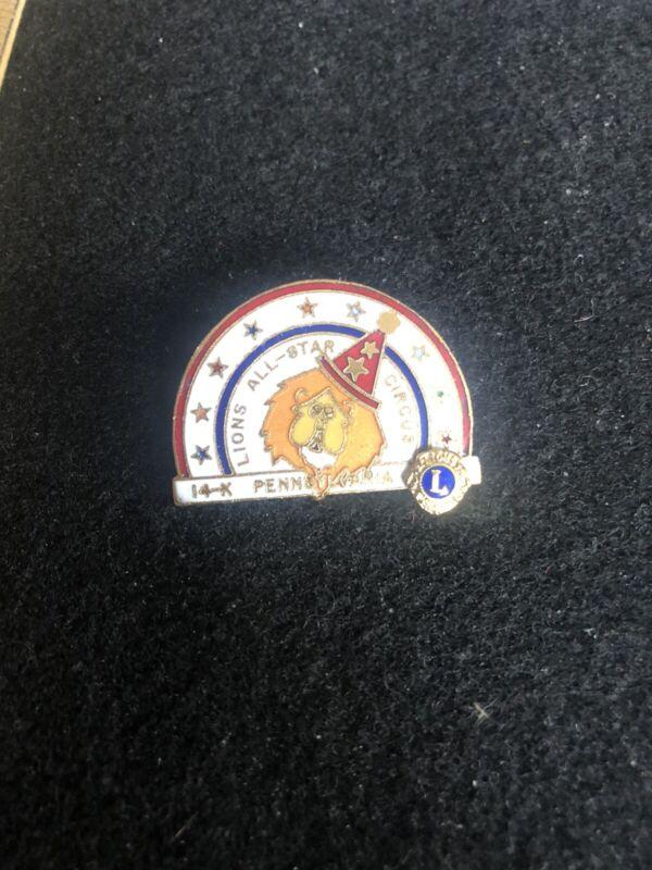 Lions Club All Star Circus 14-K Pennsylvania PA Lapel Pin