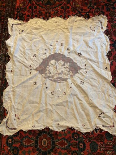 "Antique Figural Tablecloth Angels Cherubs Bird Flowers 34"" x 36"" Needle Lace"